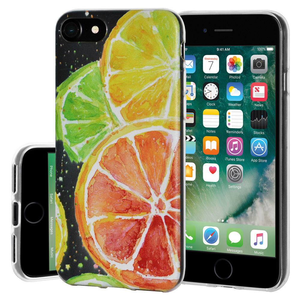 iPhone 8 Case, Premium Soft Gel Clear TPU Graphic Skin Case Cover for Apple iPhone 8 - Modern Citrus Print, Support Wireless Charging, Slim Fit, ShockProof