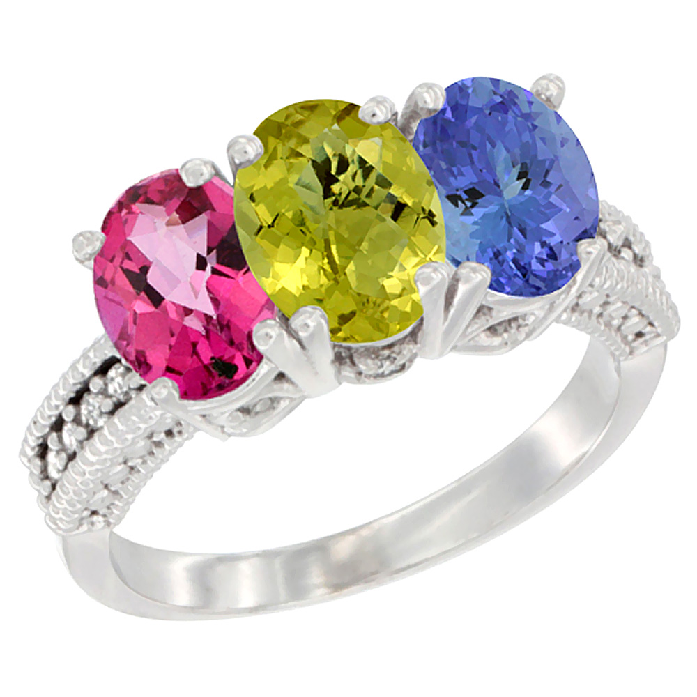 10K White Gold Natural Pink Topaz, Lemon Quartz & Tanzanite Ring 3-Stone Oval 7x5 mm Diamond Accent, sizes 5 10 by WorldJewels