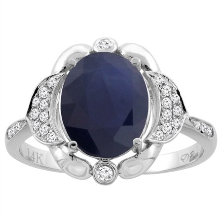 14K White Gold Diamond Natural Blue Sapphire Engagement Ring Oval 10x8mm, size 8