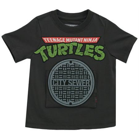 Teenage Mutant Ninja Turtles In Sewer Cartoon Toddler Flap T-Shirt