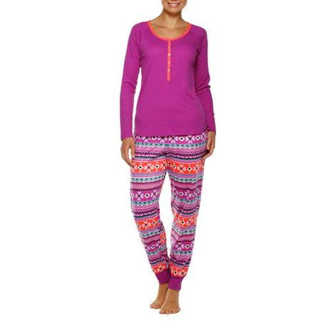 Secret Treasures Women's Knit Henley Pajama Top & Fleece Sleep Pant 2 Piece Set