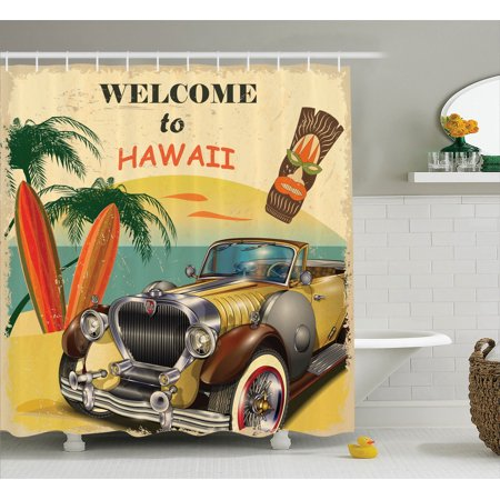 1960S Decor Shower Curtain Set, Welcome To Hawaii Retro American Pop Art Print With Aged Car Palms Tribal Mask And Surfboards, Bathroom Accessories, 69W X 70L Inches, By Ambesonne
