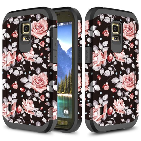 Galaxy S5 Active Case, TownShop Hard Impact Dual Layer Shockproof Bumper Case for Samsung Galaxy S5 Active G870A - Pink Rose ()
