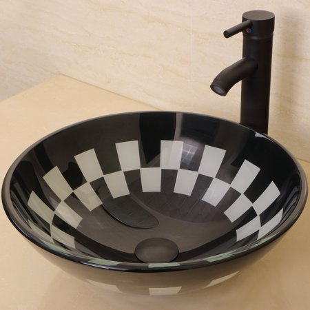Bathroom Tempered Glass Vessel Sink Oil Rubbed Bronze Faucet Pop-up Drain