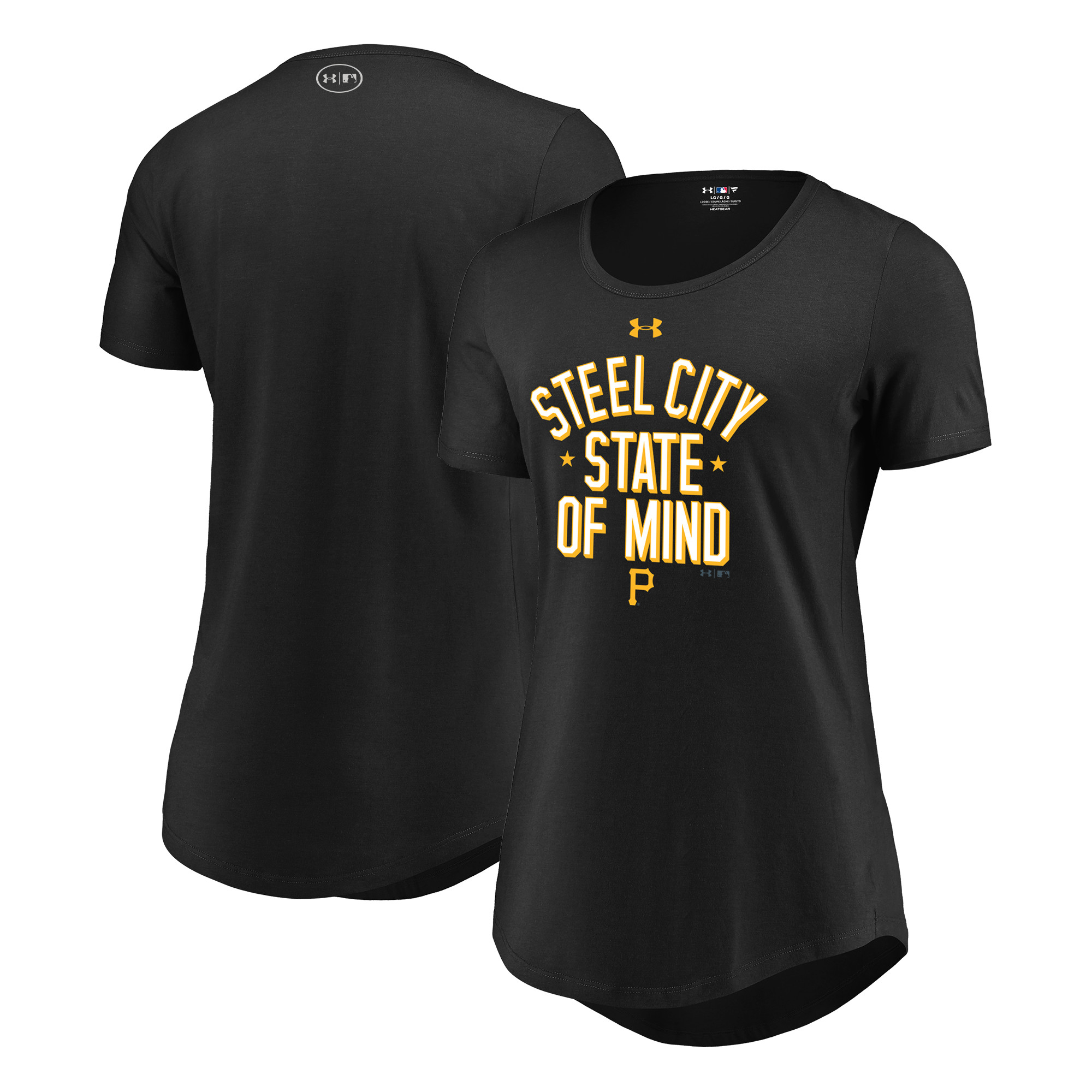 Pittsburgh Pirates Under Armour Women's Passion State of Mind Performance Tri-Blend T-Shirt - Black