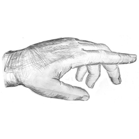 Canvas Print Thumb Showing Hand Sketch Drawing Index Finger Stretched Canvas 10 x 14