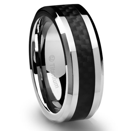 Mens Wedding Band in Titanium 8MM Ring Black Carbon Fiber Inlay and Beveled Edges
