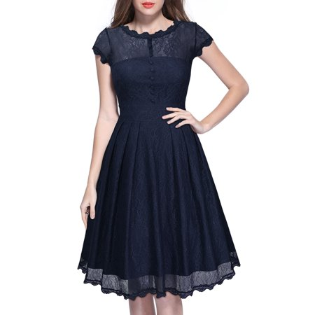 Wedding Dress Cap - MIUSOL Women's Vintage Retro 1950s Floral Lace Cap Sleeve Swing Evening Wedding Bridesmaid Dresses for Women (Navy Blue 3XL)