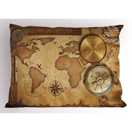 - Map Pillow Sham Aged Vintage Treasure Map Ruler Rope Old Compass Antique Adventure Discovery, Decorative Standard Size Printed Pillowcase, 26 X 20 Inches, Brown Pale Brown, by Ambesonne