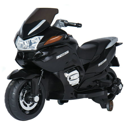 12V Motorcycle Battery-Operated Ride-On, Black