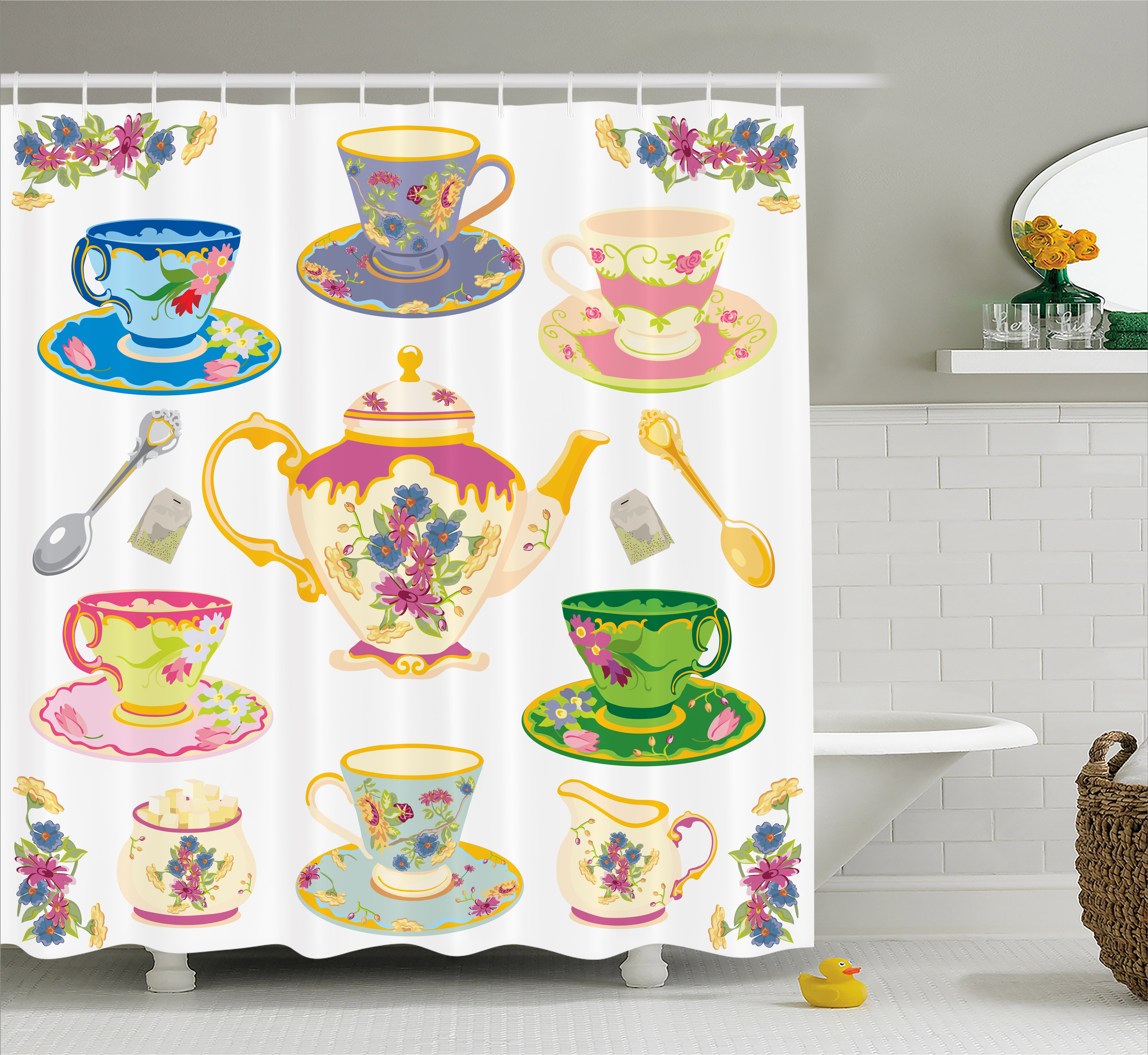 Tea Party Shower Curtain, Selection of Vivid Colored Teac...
