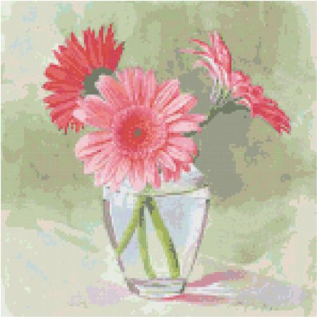 Flowers Cross Stitch Pattern (Coral Gerbera Daisies Flowers Counted Cross Stitch)