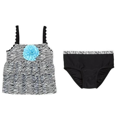 2908afbbeb392 Koala - Infant & Toddler Girls Black & Blue Zebra Print 2 Pc Tankini  Swimming Suit - Walmart.com