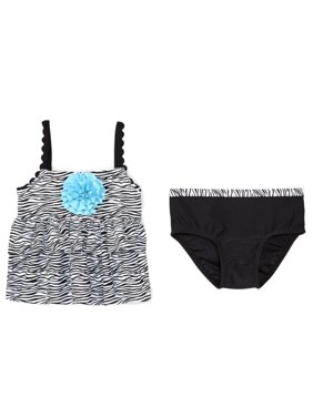 Infant & Toddler Girls Black & Blue Zebra Print 2 Pc Tankini Swimming Suit