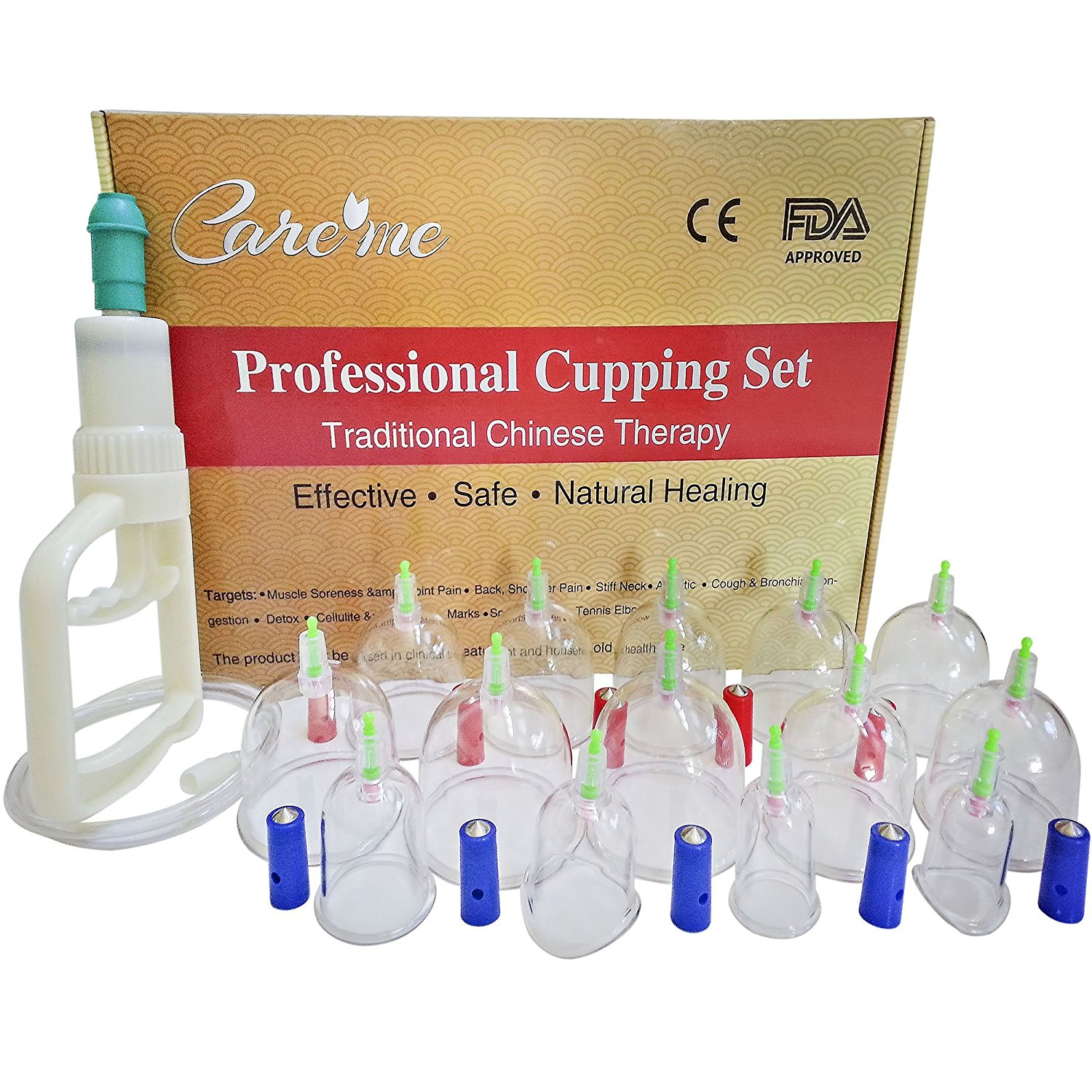 Professional Chinese Acupuncture Cupping Therapy Set -Medical Grade 14 Cups with Guaranteed 5-yr Life Span -For Body Massage, Physical Therapy, Pain Relief - Free Extension Tube & English Manual