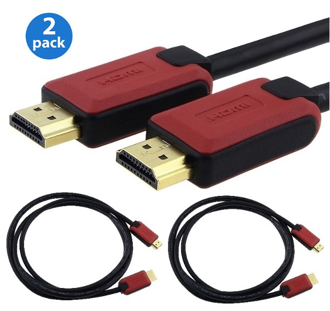 2-Pack Insten High Speed HDMI Cable version 1.4 with Ethernet, 6FT 6' RED/BLACK