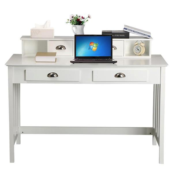Wood Writing Desk Computer PC Table Home Office Study w/4 Drawers White