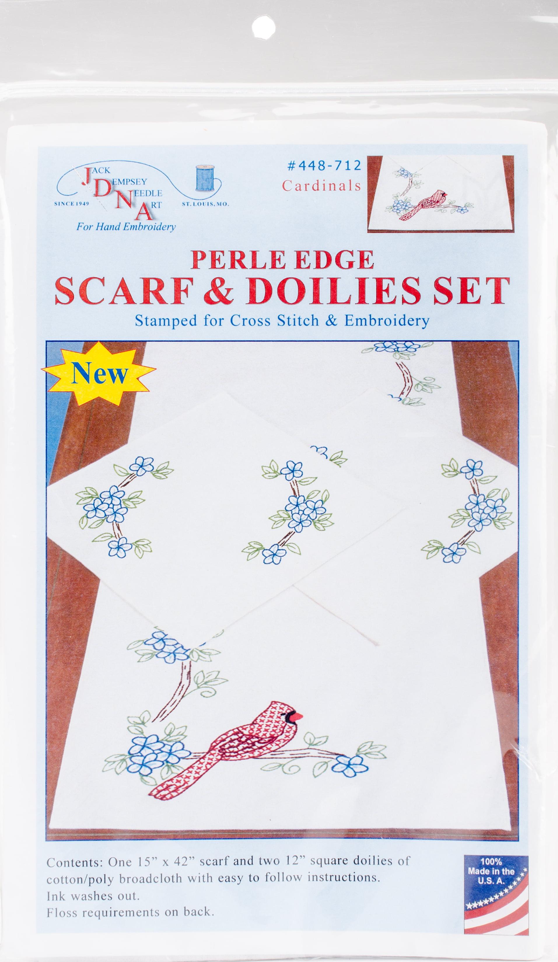 Jack Dempsey Stamped Dresser Scarf /& Doilies Perle Edge-cardinals