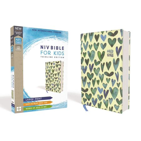 NIV Bible for Kids, Large Print, Cloth Over Board, Turquoise Hearts, Red Letter Edition, Comfort Print : Thinline Edition (December Heart)