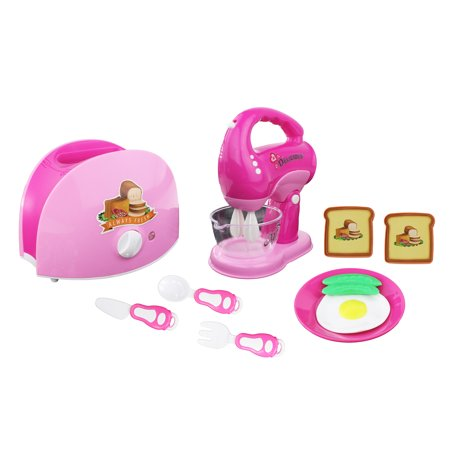 Mini Dream Kitchen Appliance Play Toy Set for Kids Assorted Kitchen Appliance Toys with Blender, Toaster and Food Play Kitchen Accessories Kitchen Mixer and Toaster Pretend Play Battery Operated Toy Home Appliances Play-set. Pretend Play Kitchen Set - Pretend play blender and mixer set! Play alone or with friends! Vibrant Light Up Parts - When in use, the mixer parts will spin and light up! Mixing Action - Add water to the mixer and watch the waters light up! Dimensions - Mixer 7  Tall, 5.6 Wide Recommended for Ages 3+; Requires 3 (AA) batteries for the blender, Requires 2(AA) for the mixer(Batteries not included)