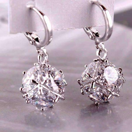 ON SALE - Crystal Cube Dangling Charm Earrings Diamond White in Platinum Comfort Fit Platinum Earrings