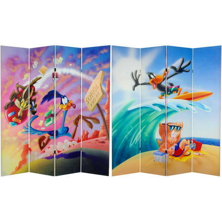 6' Tall Double Sided Roadrunner and Daffy Duck Canvas Room Divider