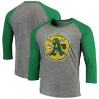 Men's Majestic Threads Heathered Gray/Green Oakland Athletics Cooperstown Collection 3/4-Sleeve Raglan Tri-Blend T-Shirt
