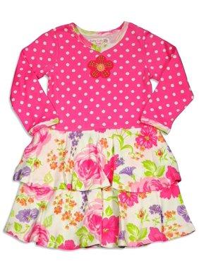 Baby Lulu - Baby Girls Long Sleeve Ana Dress ANNA DRESS PINK ROSE / 6 Months