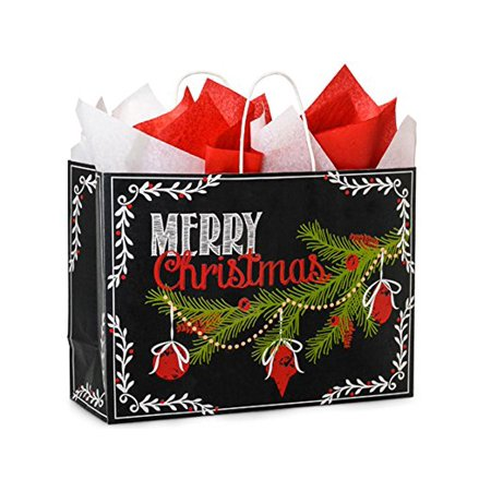 NASHVILLE WRAPS GREEN WAY VOGUE CHALKBOARD WISHES RECYCLED BAG, MERRY CHRISTMAS