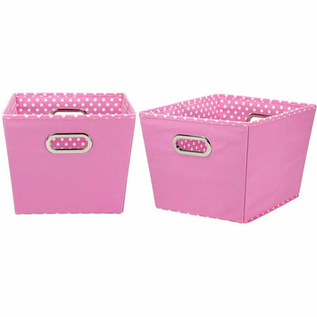 Household Essentials Medium Decorative Storage Bins, 2pk, Pink and Mini Dot