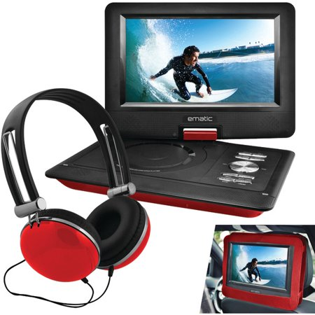 EMATIC EPD116RD 10″ Portable DVD Player with Headphones & Car-Headrest Mount (Red)