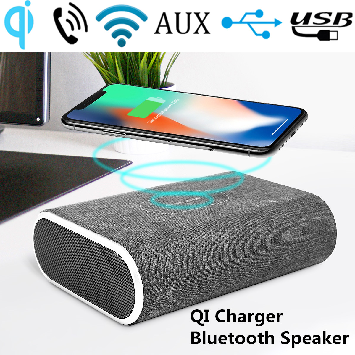 20W QI Wireless Charger bluetooth Wireless Speakers Bass Speaker Desktop Phone Charging Holder Dock Support AUX For QI Standard Mobile Phone