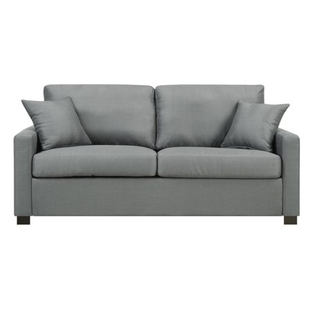 Manhattan Upholstered Sofa with Accent Pillows, (Federal Platinum Accent)