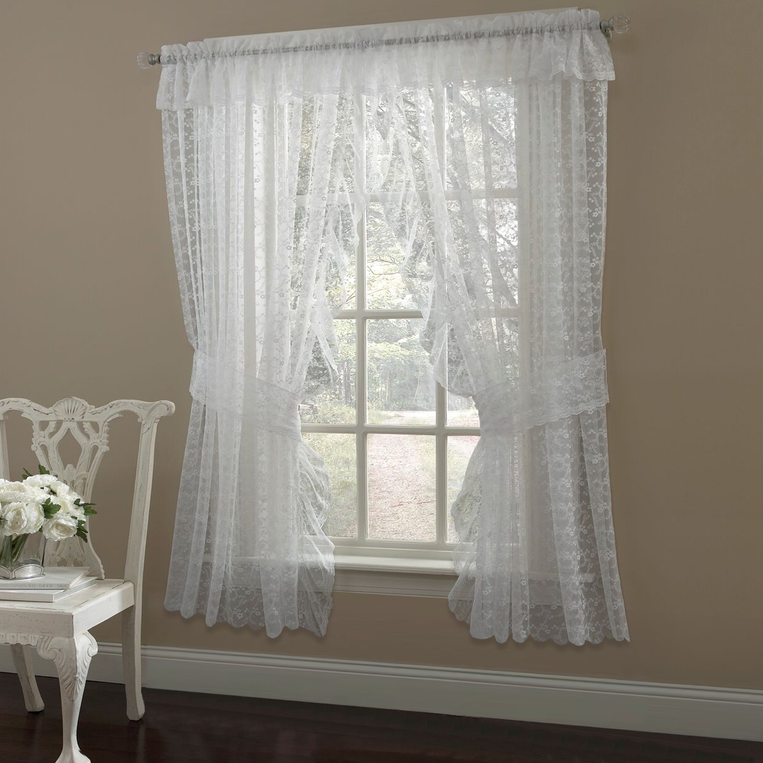 Priscilla Ruffled Bridal Lace Curtain