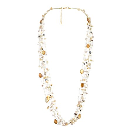 - Floating Cultured Freshwater Mix Pearl and Stone Beauty Multi Silk Strand Layered Necklace