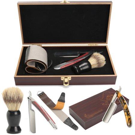 Mrosaa 440 Steel Cut Throat Straight Razor W/ Shaving Brush Strop Wooden Box Gift