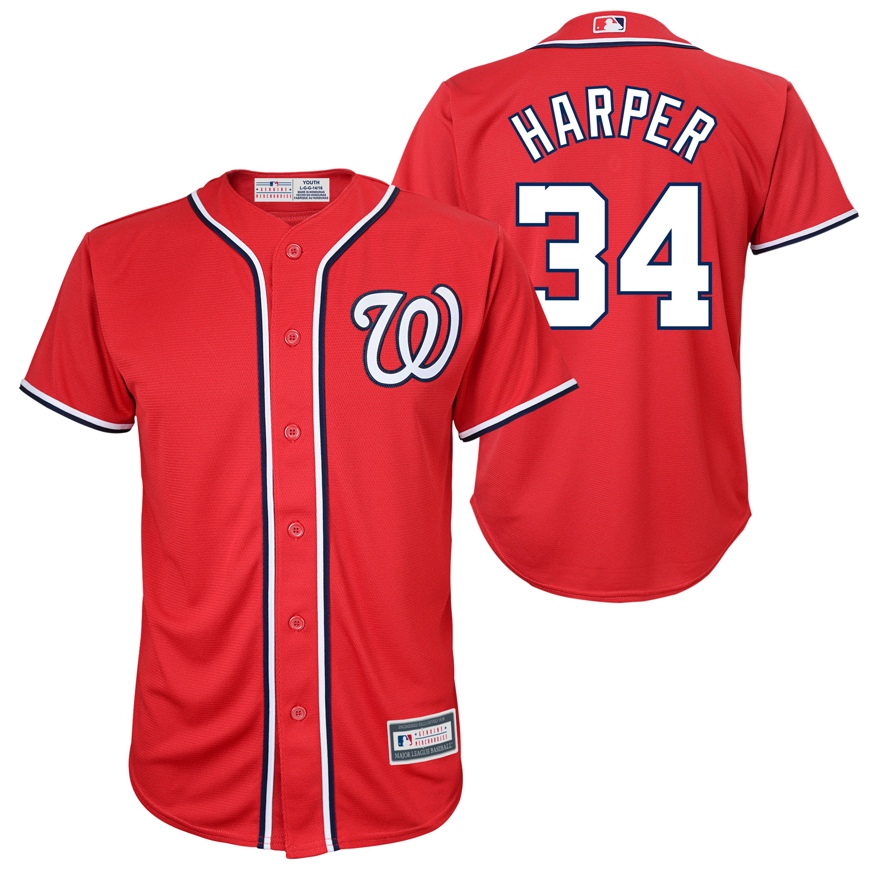 Bryce Harper Washington Nationals Youth Player Replica Jersey - Red