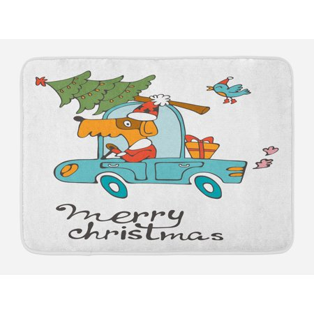Christmas Bath Mat, Blue Vintage Car Dog Driving with Santa Costume Cute Bird Tree and Gift Present, Non-Slip Plush Mat Bathroom Kitchen Laundry Room Decor, 29.5 X 17.5 Inches, White Multi, Ambesonne