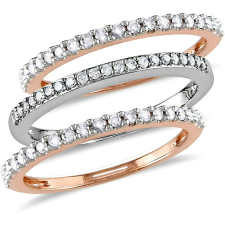 Diamond Flower Stackable Ring - 1/2 Carat T.W. Diamond 10kt Two-Tone Gold Three-Piece Anniversary Stackable Semi-Eternity Ring Set