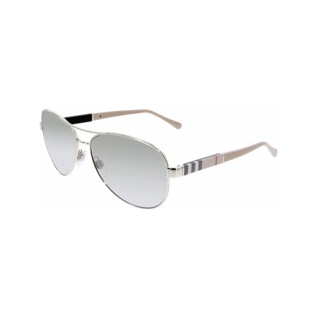 Burberry Women's Gradient BE3080-10056V-59 Silver Aviator Sunglasses ()