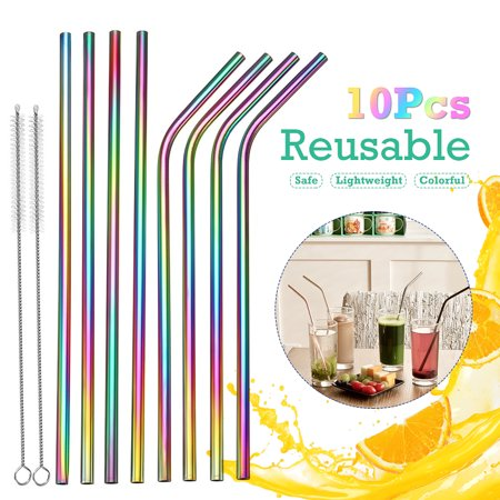Reusable 5Pcs Curved/Straight Drinking Straw+ 2Pcs Brush NON-TOXIC Eco Friendly Stainless Steel Metal - Eco Friendly Halloween Craft Ideas