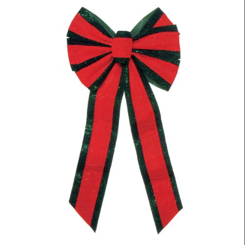 "Large 12"" x 26"" Red and Green Indoor / Outdoor Velveteen 6 Loop Christmas Bow"