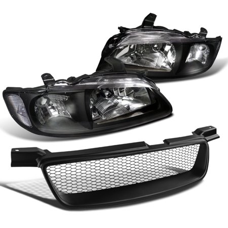 Spec-D Tuning For 2000-2003 Nissan Sentra Jdm Black Clear Headlights + Mesh Bumper Hood Grille 2000 2001 2002 2003