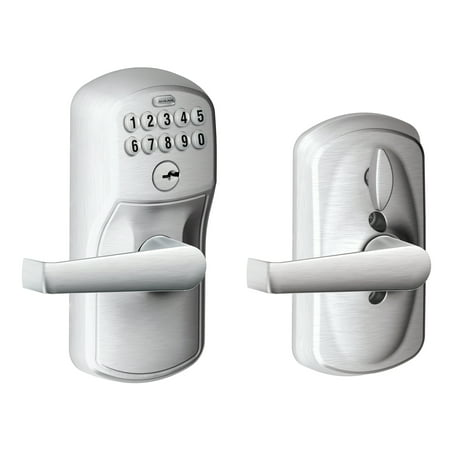 Schlage FE595CSVELA626 Satin Chrome Keypad Lever With Plymouth Trim And Flair Lever With Flex Lock