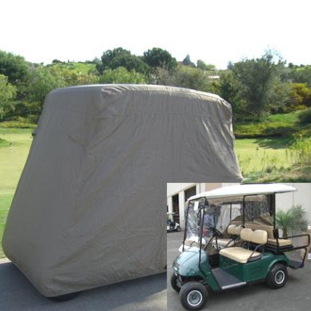 2017 Waterproof 4 Passengers Car Detector Golf Cart Storage Cover Taupe With 112'' x 48'' x 66''