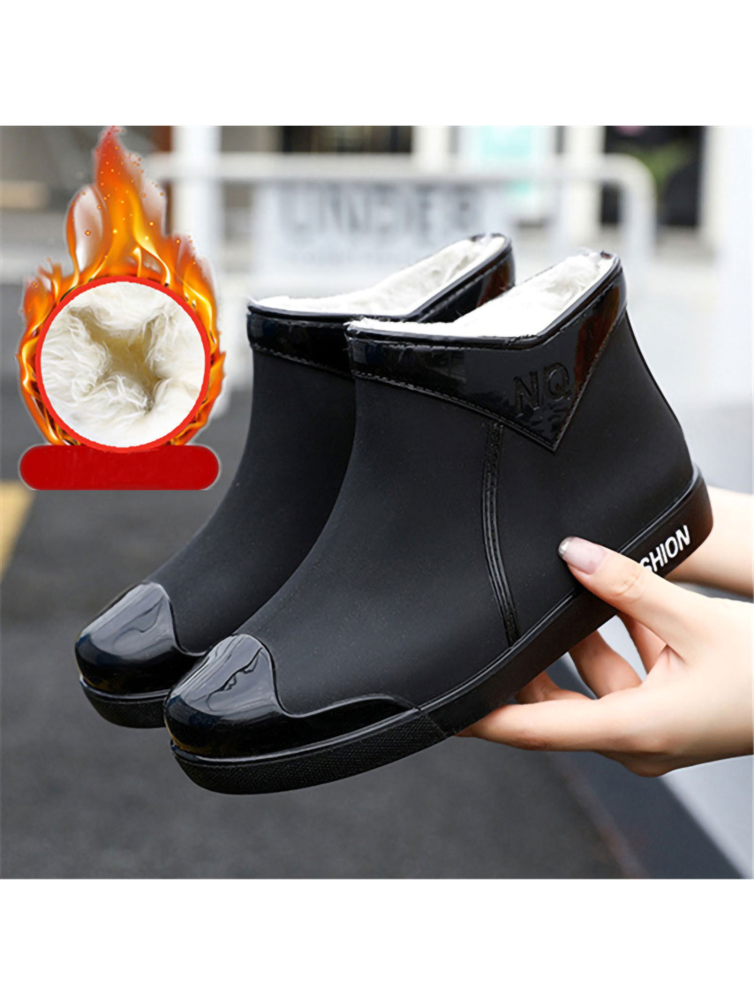 Details about  /Women Wedges Rainboots Waterproof Shoes Rubber Slip On Short Boot Casual Fashion