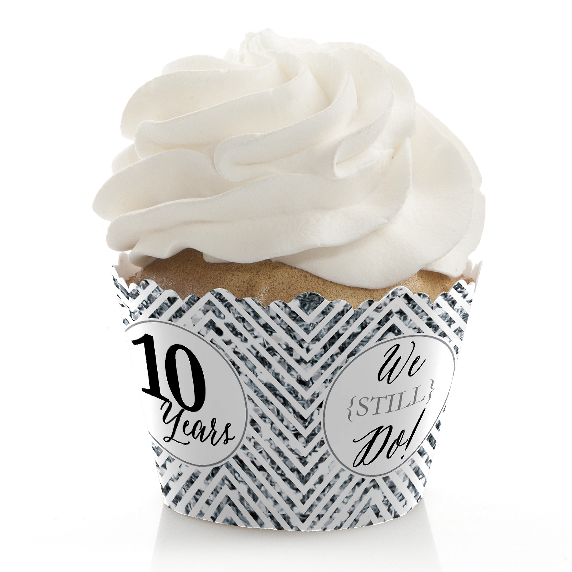 We Still Do - 10th Wedding Anniversary Party Cupcake Wrappers - (Set of 12)
