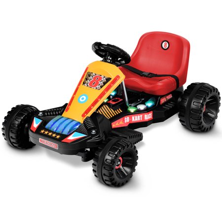 Goplus Electric Powered Go Kart Kids Ride On Car 4 Wheel Racer Buggy Toy Outdoor (Best Go Karts In Houston)