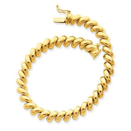14k Yellow Gold San Marco Bracelet 8 Inch Fine Jewelry For Women Gift Set