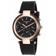 16175Sm-Rb-01 Madison Diamond Multi-Function Black Silicone And Dial Rose-Tone Bezel Watch